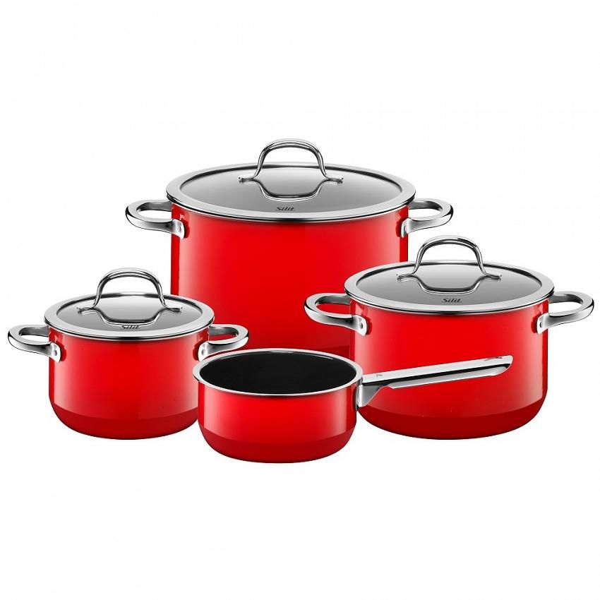 SILIT - Passion Red - Zestaw garnków z rondelkiem 4-częściowy